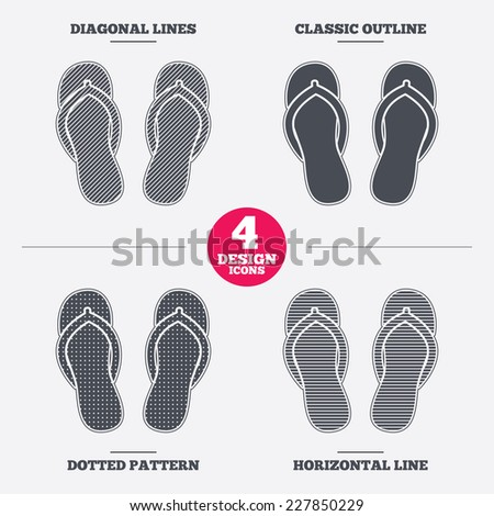 Flip-flops sign icon. Beach shoes. Sand sandals. Diagonal and horizontal lines, classic outline, dotted texture. Pattern design icons.  Vector - stock vector