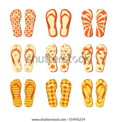 Flip-flops vector - stock vector