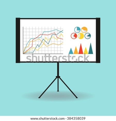 Flipchart, whiteboard or projection screen with marketing data. Flat design. Vector illustration. - stock vector