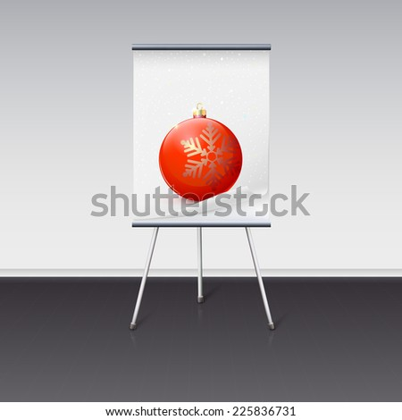 Flipchart with a Christmas ball on it, image is over a white background - stock vector