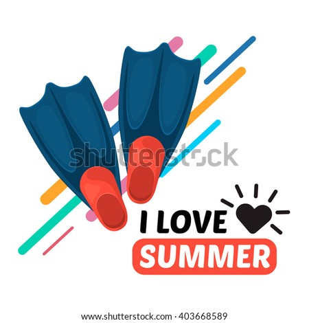 Flippers and text. Vacation travel background. Easy to edit design template. - stock vector