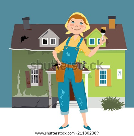 Flipping a house. Cartoon woman in overalls, with construction tools standing in front of a house divided into before and after renovation parts - stock vector