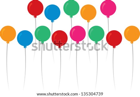 Floating balloons in multiple colors