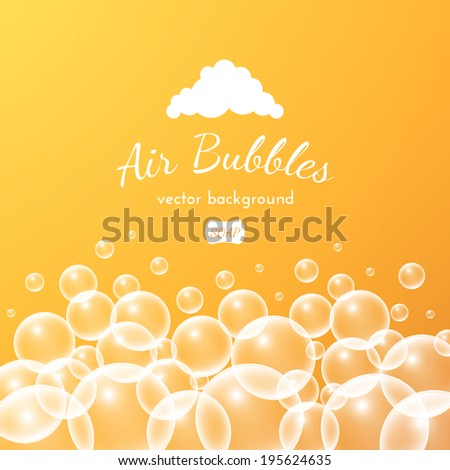 Floating bubbles. Beautiful orange vector background for your design - stock vector