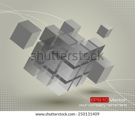 Floating 3d cube with moving segmented parts on light gray background and elegant curved lines. Vector illustration - stock vector