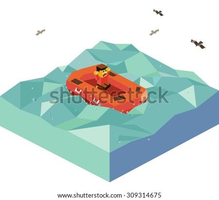 Floating Emergency Boat. isometric art - stock vector