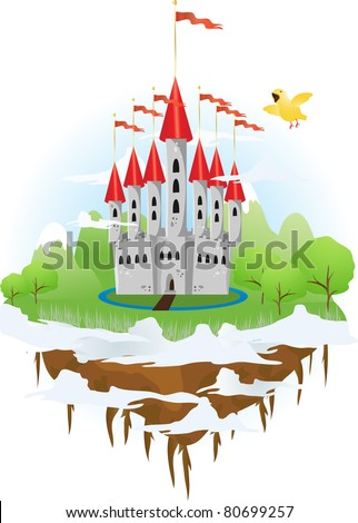 Floating island with castle and singing bird - stock vector