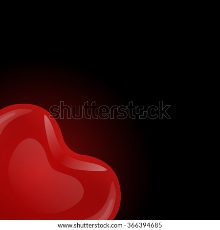 Floating red gel balloon in the shape of hearts of looks from the corners on black background. - stock vector