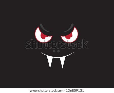 Floating vampire bat face in the dark - stock vector