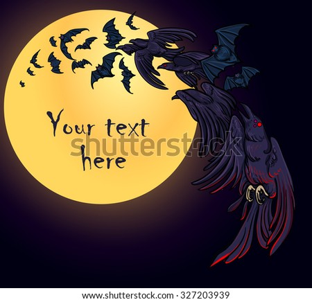 Flock of bats and crows fly over the moon background. Vector illustration. Halloween celebration decoration, design template, element, symbol. Corvus. - stock vector
