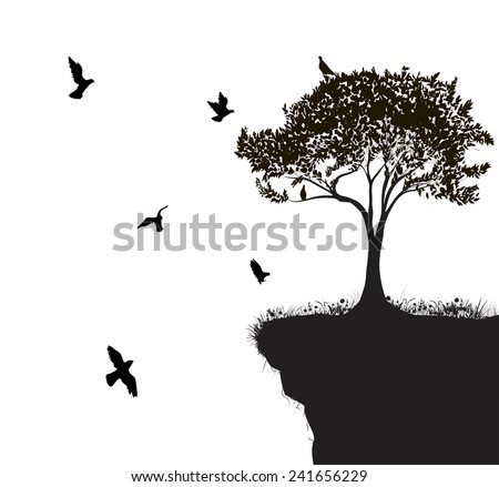 flock of birds fly to the tree growing on the edge of cliff, shadows, black and white - stock vector