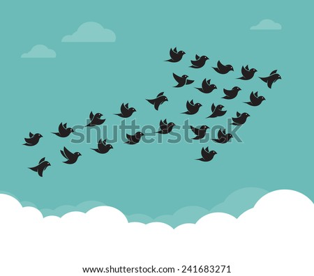 Flock of birds flying in the sky in an arrow, Teamwork concept - stock vector