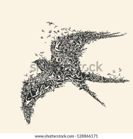Flock of birds in bird formation - stock vector