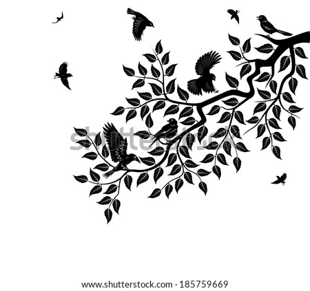 Flock of birds sits on branch of tree. Tree branch with leaves. - stock vector