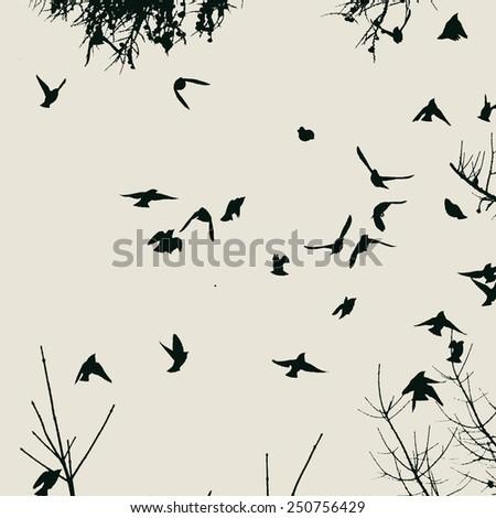flock of birds. vector illustration. - stock vector