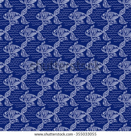 Flock of fish floating on the waves. Seamless floral pattern. Ornamental fish and waves, painted by hand. Ornament for design background, wallpaper, packaging, fabrics, textiles and other. - stock vector