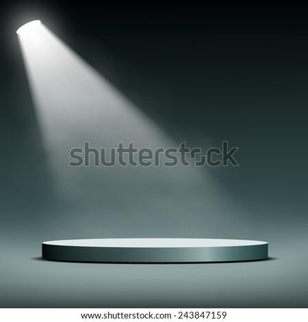floodlight illuminates a pedestal for presentation - stock vector