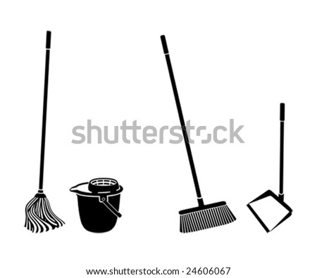 floor cleaning objects black and white silhouettes - stock vector