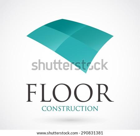 Floor construction logo element design symbol vector shape icon abstract business identity company - stock vector