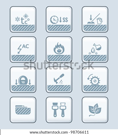 Floor covering special characteristics icon-set