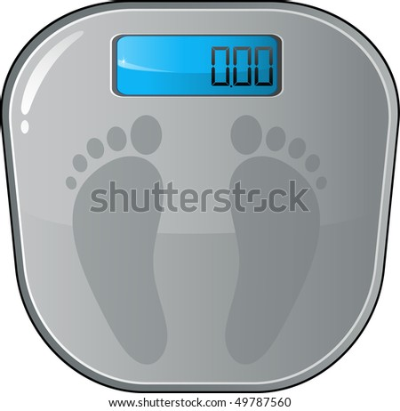 Floor electronic scales - stock vector