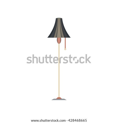 floor lamp flat icon in vintage color theme illustration object