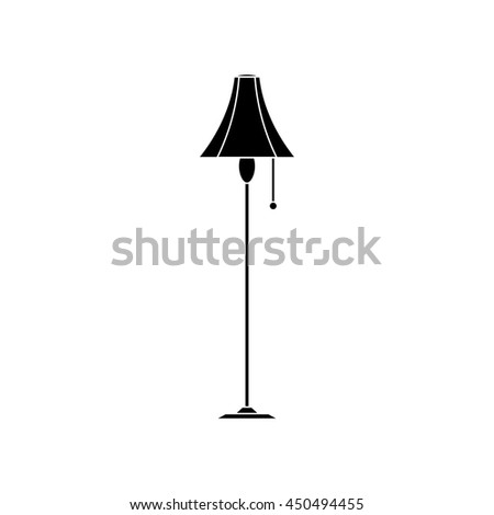 floor lamp front view flat icon silhouette illustration object - stock vector