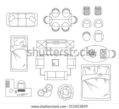 furniture for floor plans. floor plan furniture set vector illustration for plans
