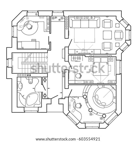Black white architectural plan house layout stock vector for Pre drawn house plans