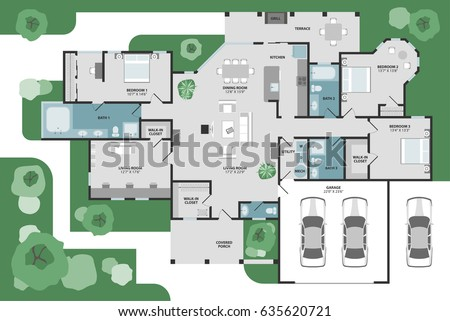 Floor Plan House Modern Unique Graphic Stock Vector (2018) 635620721 ...