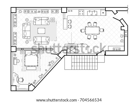 Floor Plan, Top View. The Interior Design Terrace. The Cottage Is A Covered
