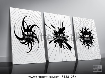 Floor standing three posters sample for design portfolio presentation. Eps10 vector - stock vector