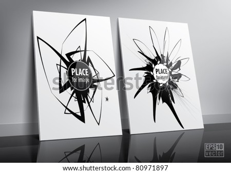 Floor standing two posters sample for design portfolio presentation. Eps10 vector - stock vector