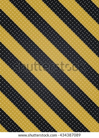 Floor Steel Plate And Yellow Line.  Vector illustration. - stock vector