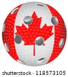 Floorball ball with the flag Canada - stock vector