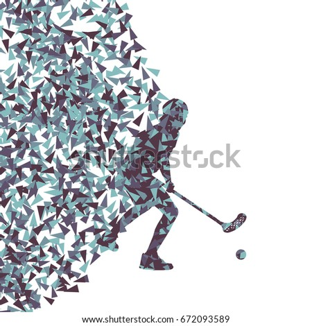 Floorball player indoor modern abstract vector background man with stick and ball made with fragments isolated on white