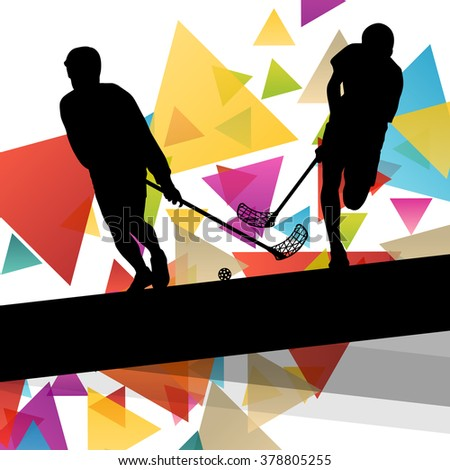 Floorball players silhouettes active and healthy sport vector abstract background illustration - stock vector
