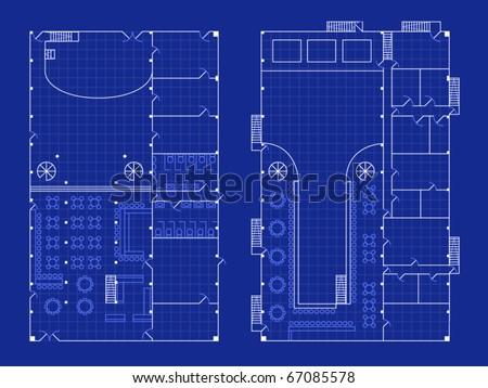 Floorplan Nightclub Stage Bar Blueprint Style Stock Vector 67085578 ...