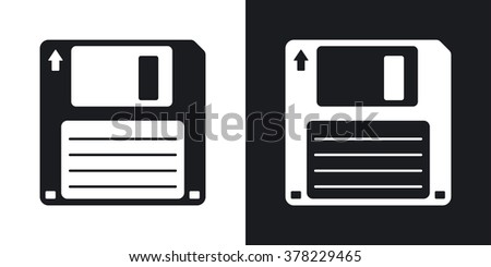 Floppy disk vector icon. Two-tone version on black and white background - stock vector