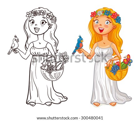 Flora (deity). Young girl in a wreath with bird and fruit basket. Funny cartoon character. Vector illustration. Isolated on white background. Coloring book. Color and black and white image - stock vector