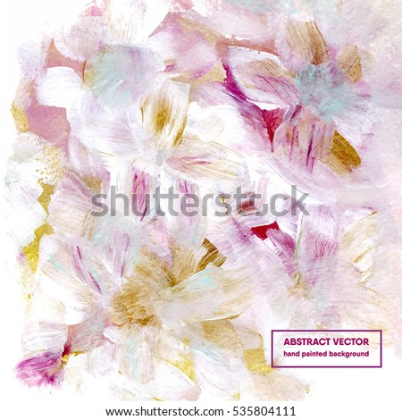 Floral abstract background, hand painted, vector