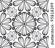 Floral abstract background, seamless repeat pattern - stock vector