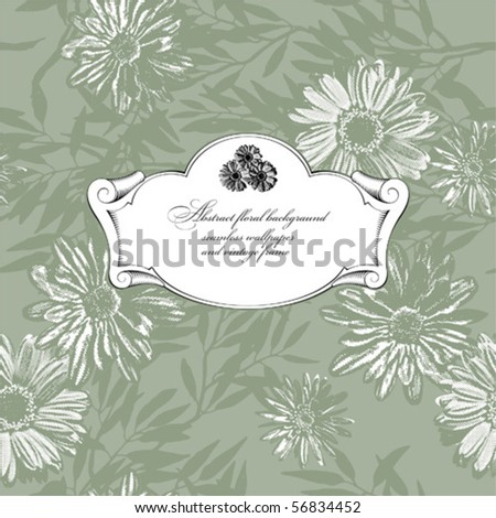 floral abstract background - seamless wallpaper and vintage frame