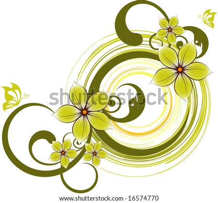 Floral abstract banner. Vector format is added. Suits well for design. - stock vector