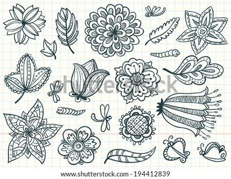 Floral abstract doodle set - stock vector