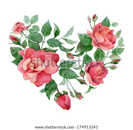 Floral abstract heart of roses - stock vector