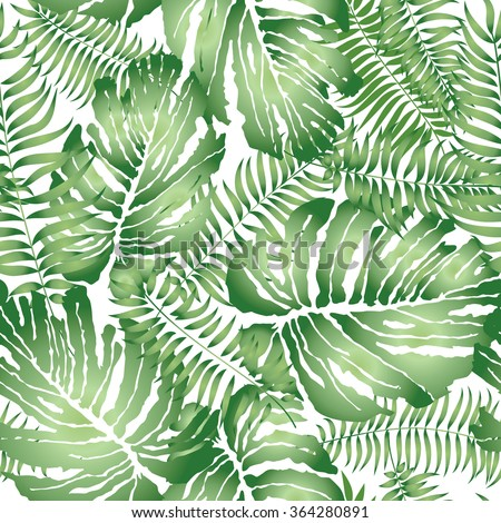 Floral abstract leaf tiled pattern. Tropical palm leaves seamless background - stock vector