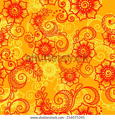 Floral abstract ornament in Indian style mehndi. Seamless pattern. Design element.Vector illustration.