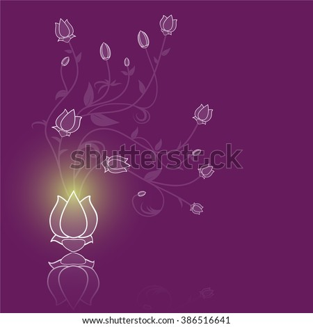 Floral abstract vector purple background illustration - stock vector