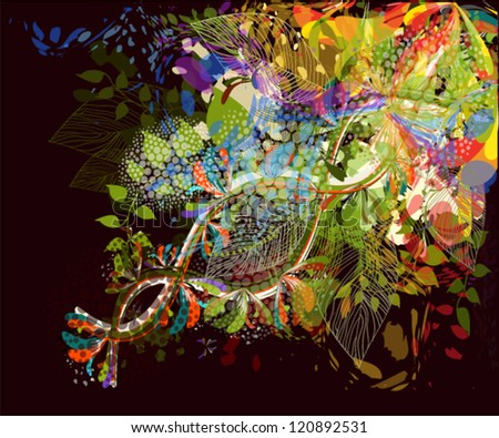 floral abstraction on a black background